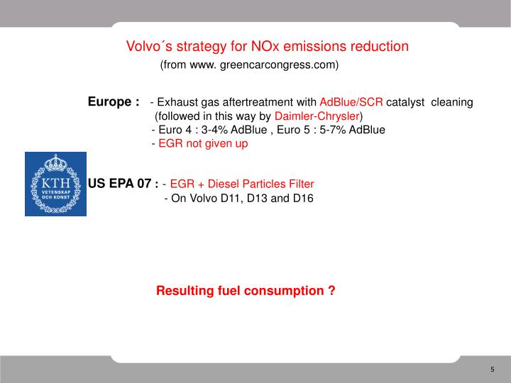 Volvo´s strategy for NOx emissions reduction
