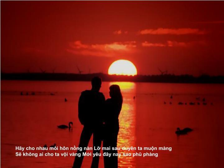 Hãy cho nhau môi hôn nồng nàn Lỡ mai sau duyên ta muộn màng