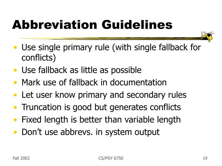 Abbreviation Guidelines
