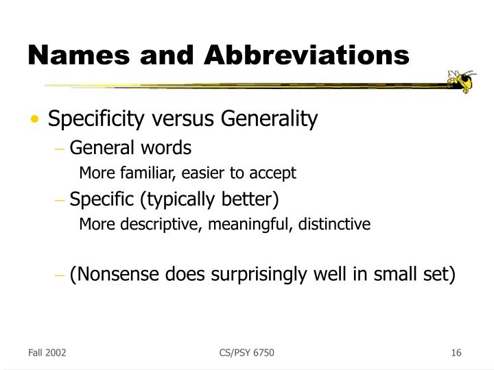 Names and Abbreviations