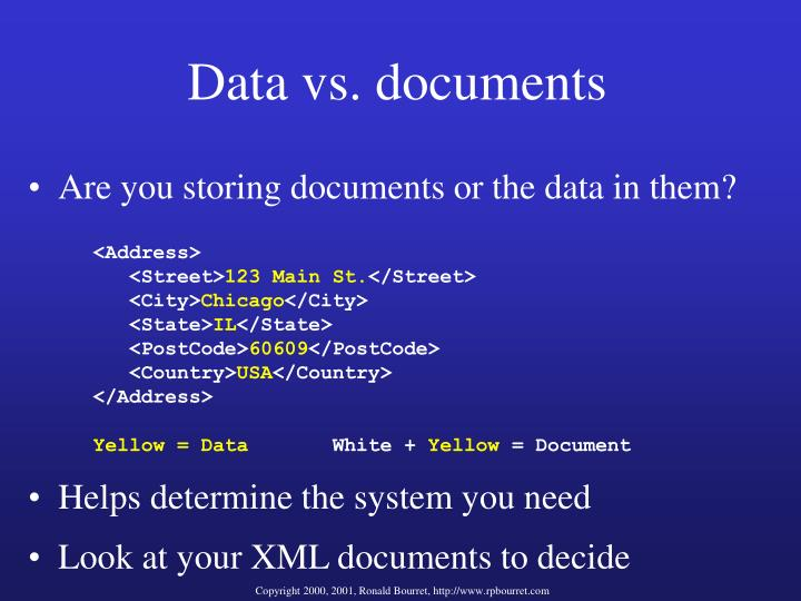Data vs. documents