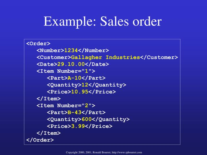 Example: Sales order