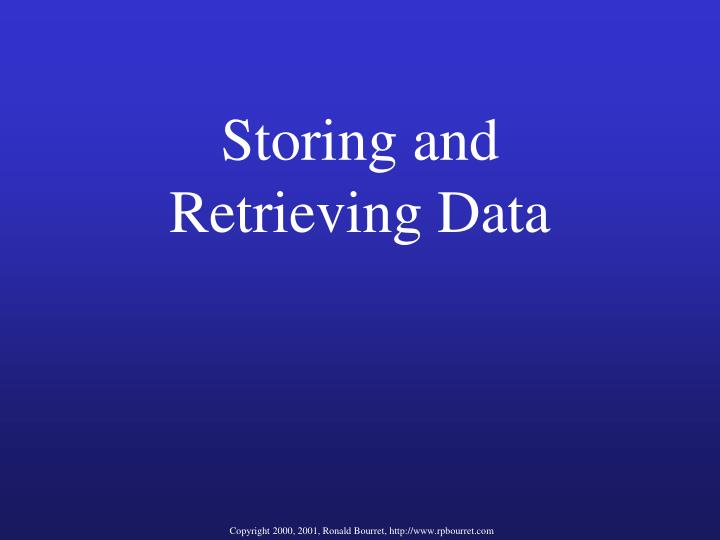 Storing and