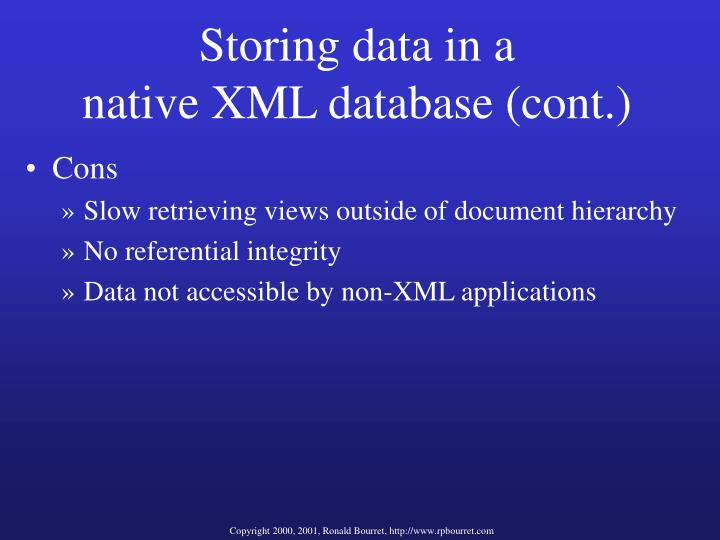 Storing data in a