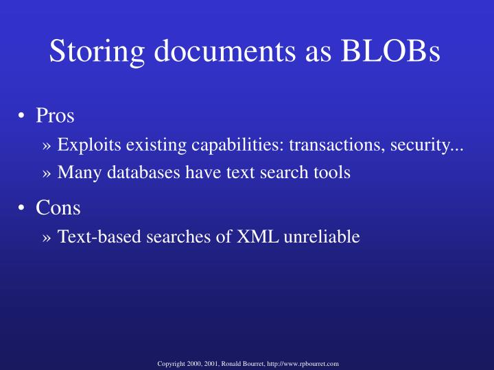 Storing documents as BLOBs
