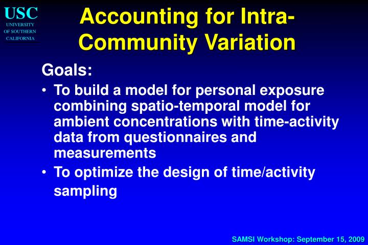 Accounting for Intra-Community Variation