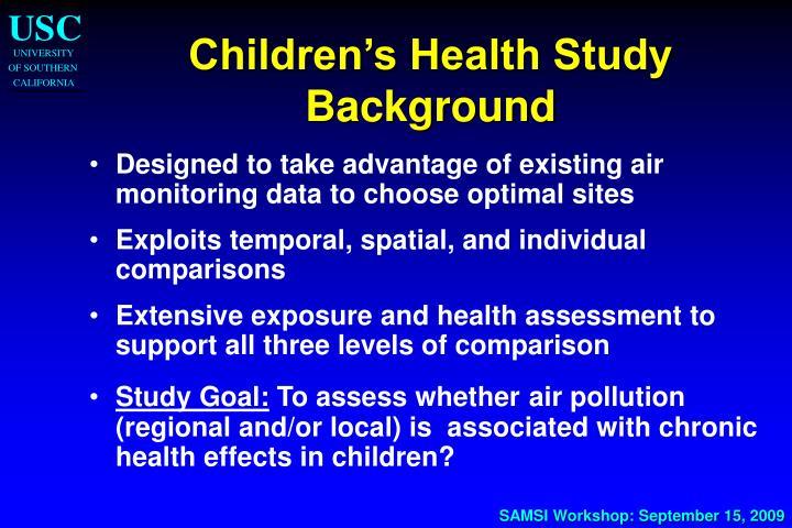 Children's Health Study Background