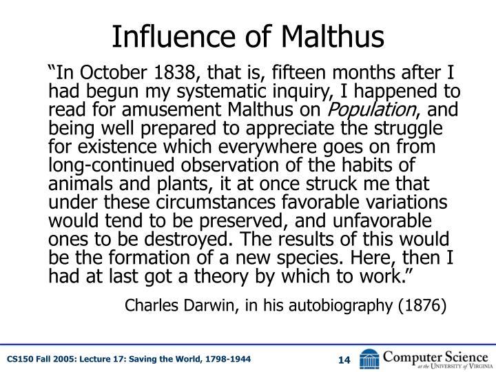 Influence of Malthus