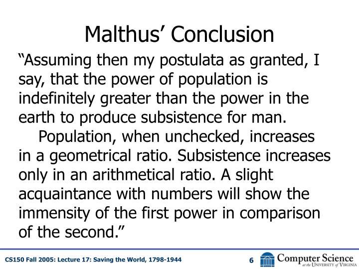Malthus' Conclusion