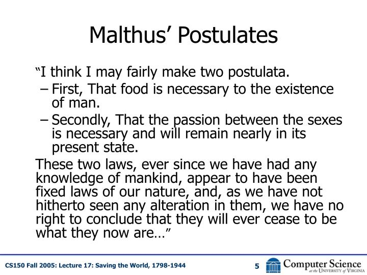 Malthus' Postulates