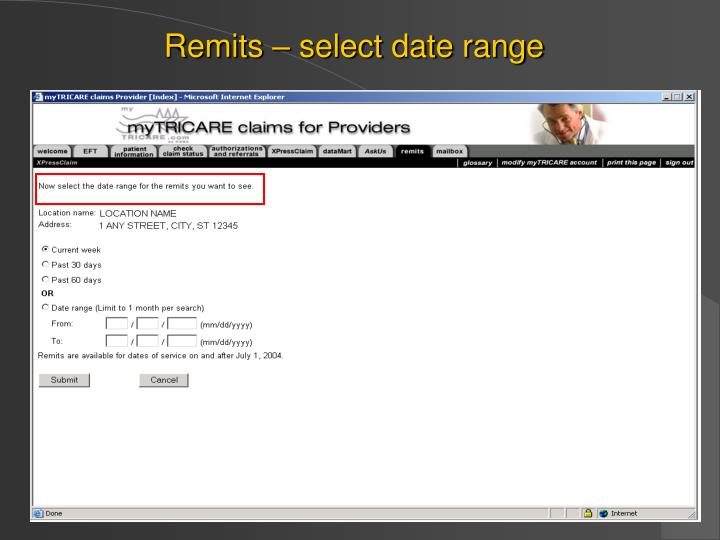 Remits – select date range