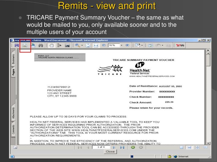 Remits - view and print