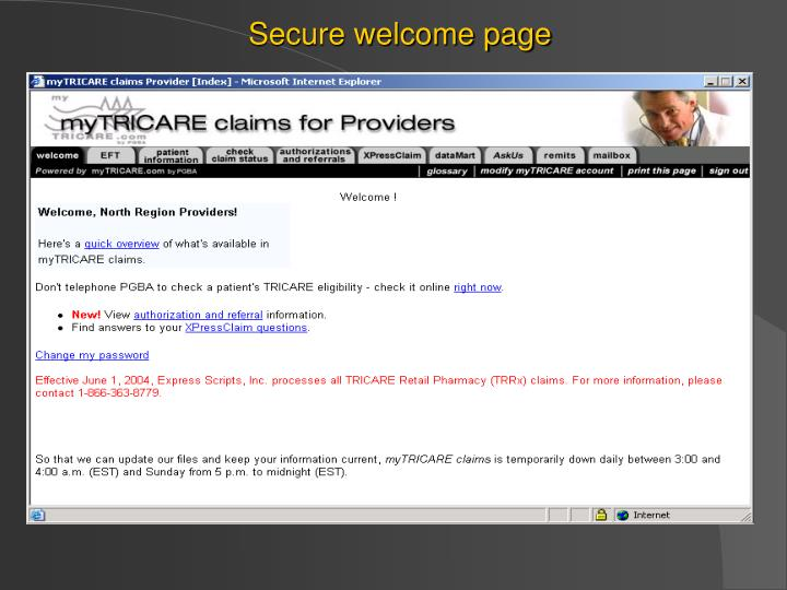 Secure welcome page