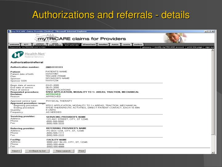 Authorizations and referrals - details