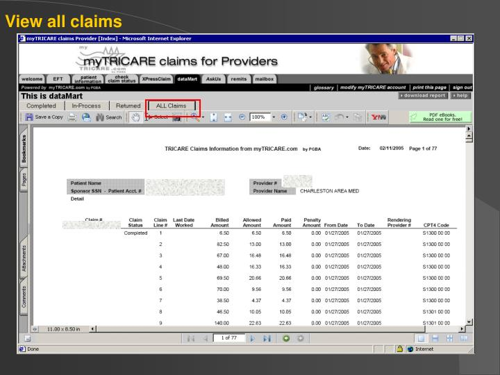 View all claims