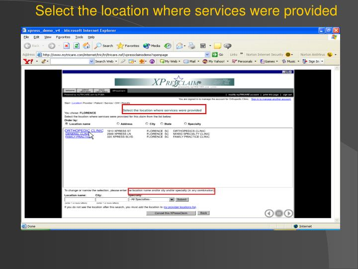 Select the location where services were provided