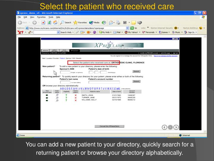 Select the patient who received care