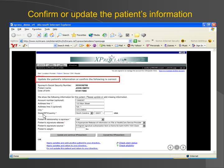 Confirm or update the patient's information