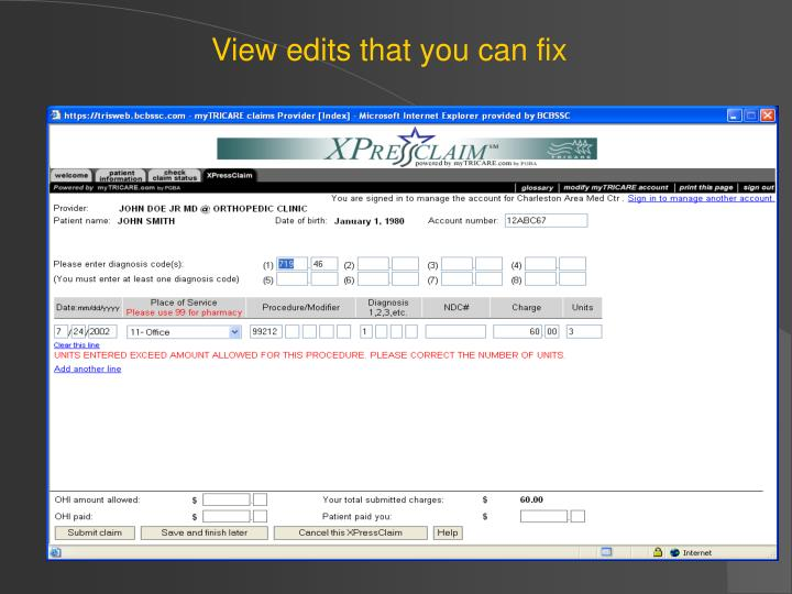 View edits that you can fix