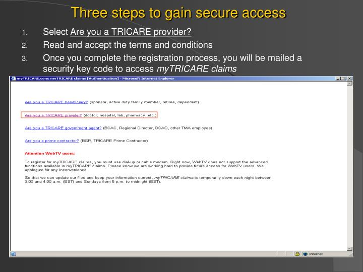 Three steps to gain secure access
