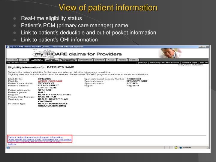 View of patient information