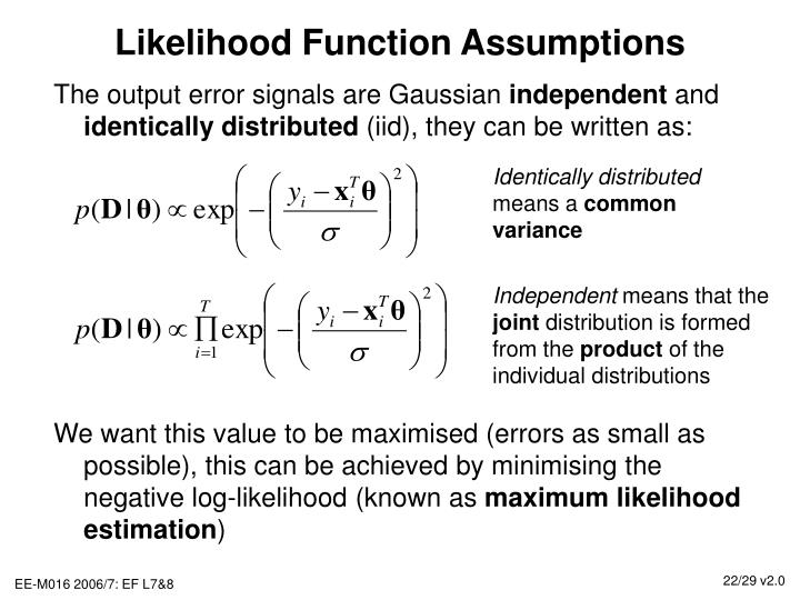 Likelihood Function Assumptions
