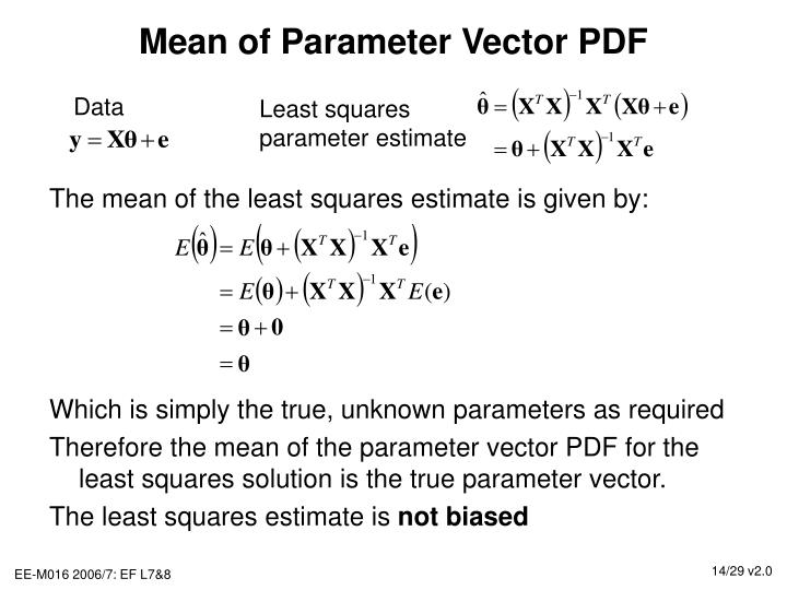 Mean of Parameter Vector PDF