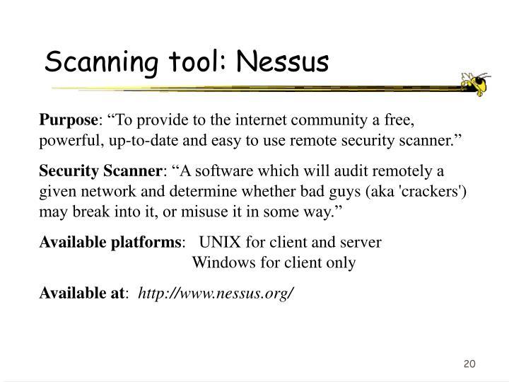 Scanning tool: Nessus