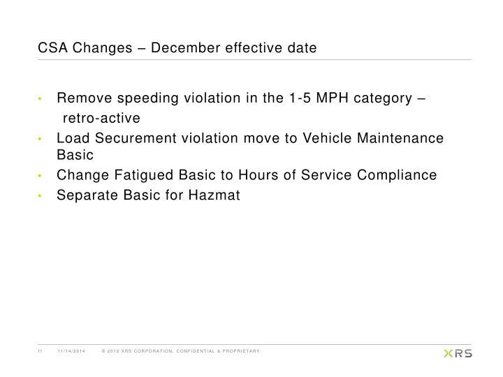 CSA Changes – December effective date