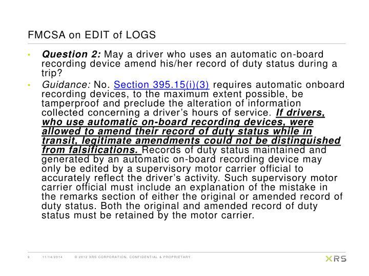 FMCSA on EDIT of LOGS