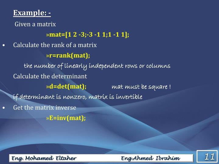 Example: -