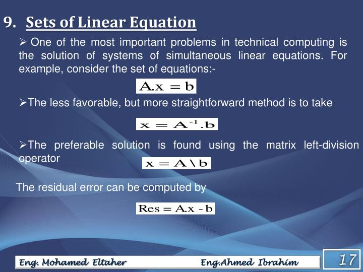 Sets of Linear Equation
