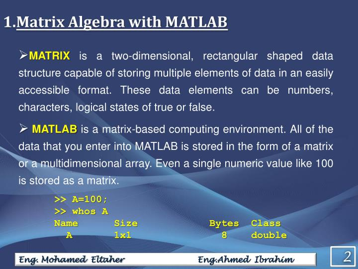 Matrix Algebra with MATLAB