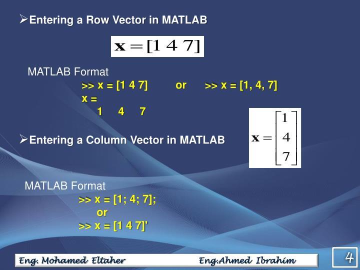 Entering a Row Vector in MATLAB