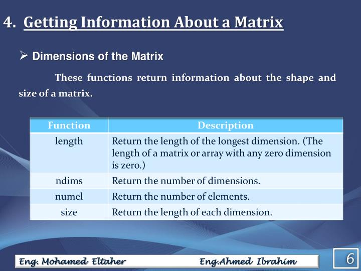 Getting Information About a Matrix