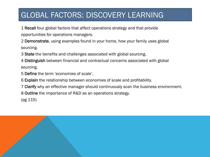 Global Factors: Discovery learning