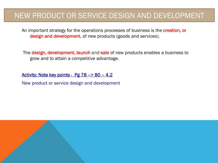 New product or service design and development