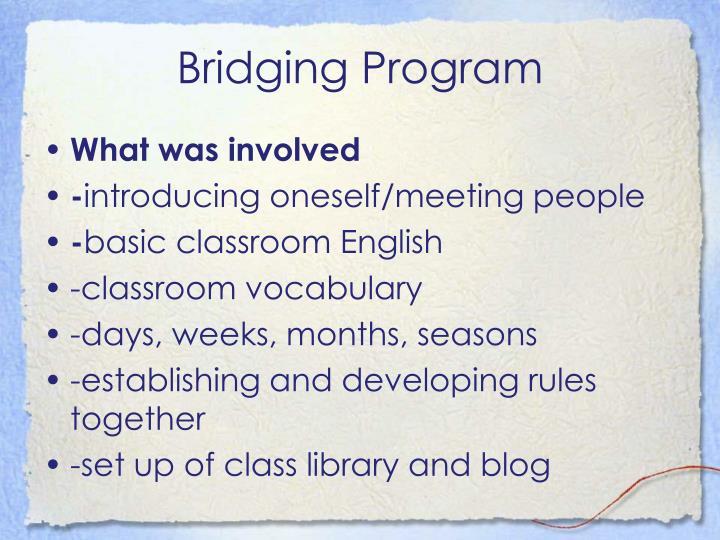 Bridging Program
