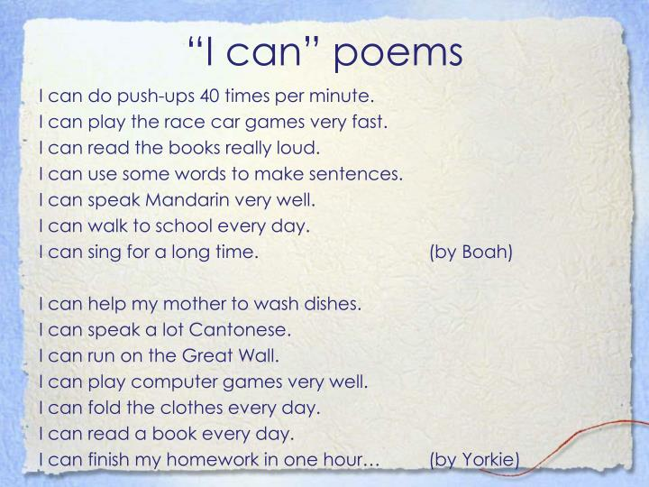 """I can"" poems"