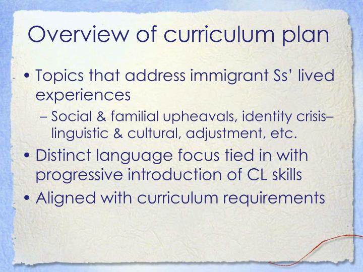 Overview of curriculum plan