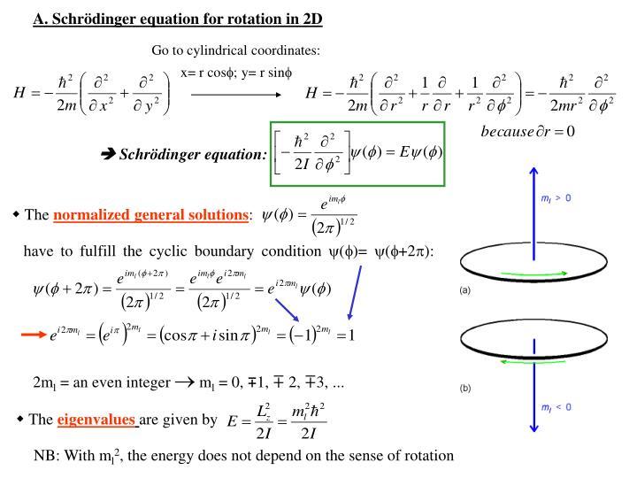 A. Schrödinger equation for rotation in 2D