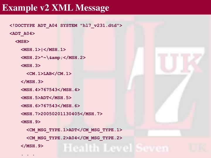 Example v2 XML Message