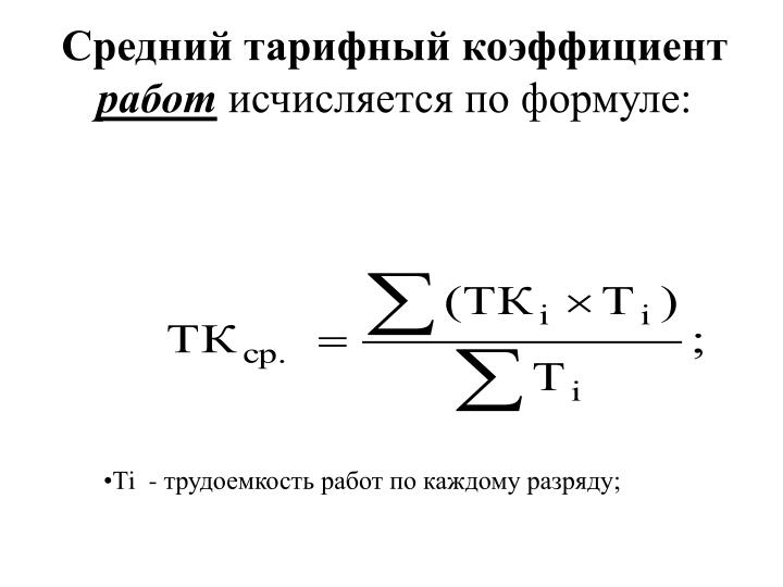 Средний тарифный коэффициент
