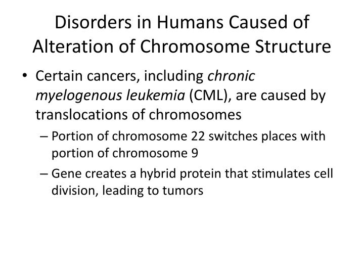 Disorders in Humans Caused of Alteration of Chromosome Structure