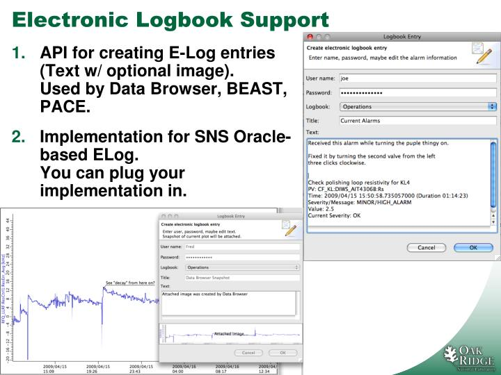 Electronic logbook support