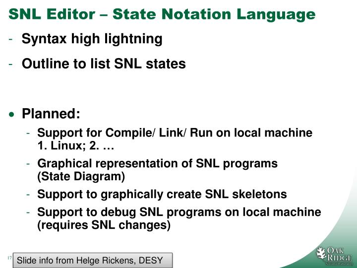 SNL Editor – State Notation Language