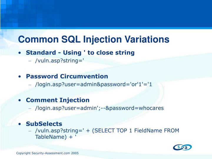 Common SQL Injection Variations