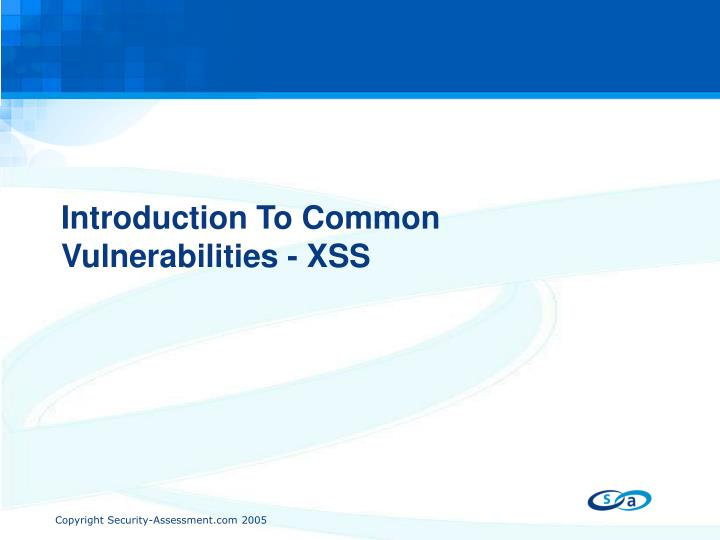 Introduction To Common Vulnerabilities - XSS