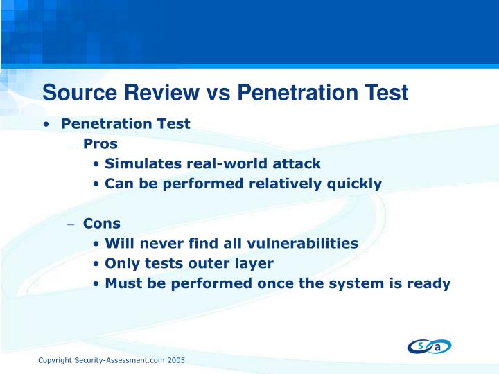 Source Review vs Penetration Test