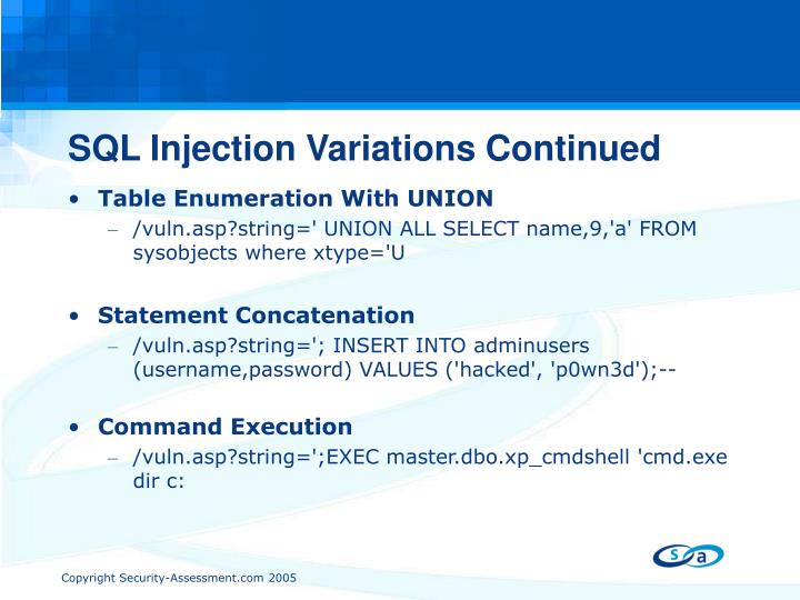 SQL Injection Variations Continued